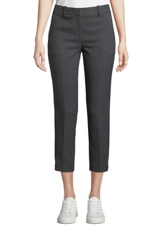 Theory Treeca Jacquard Slim-Fit Cropped Pants