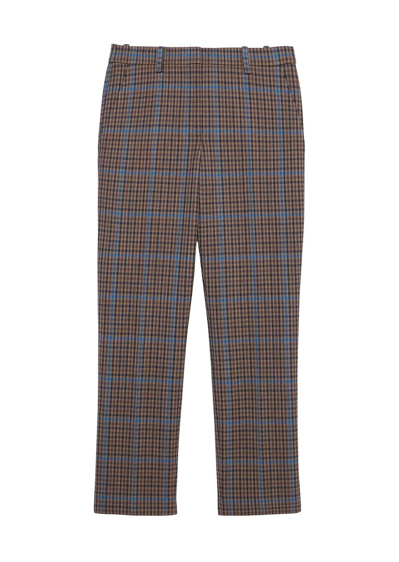 Theory Treeca Plaid Wool-Blend Pants