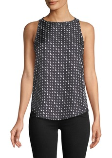 Theory Triangle Stripe Silk Twill Racerback Tank