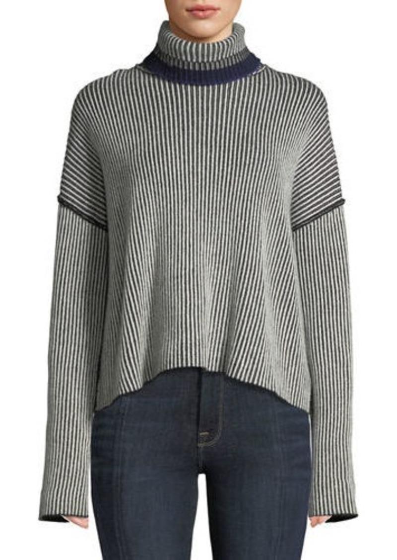Theory Turtleneck Oversized Mix-Stripe Cashmere Sweater