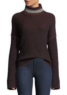 Theory Turtleneck Oversized Mix-Stripe Cashmere Sweater