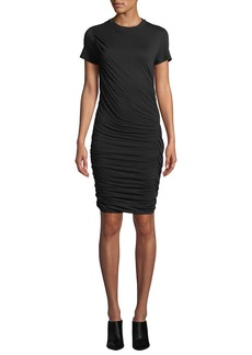 Theory Twisted Draped Crewneck Tee Dress