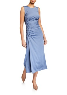 Theory Twisted Ruched-Side Silk Dress