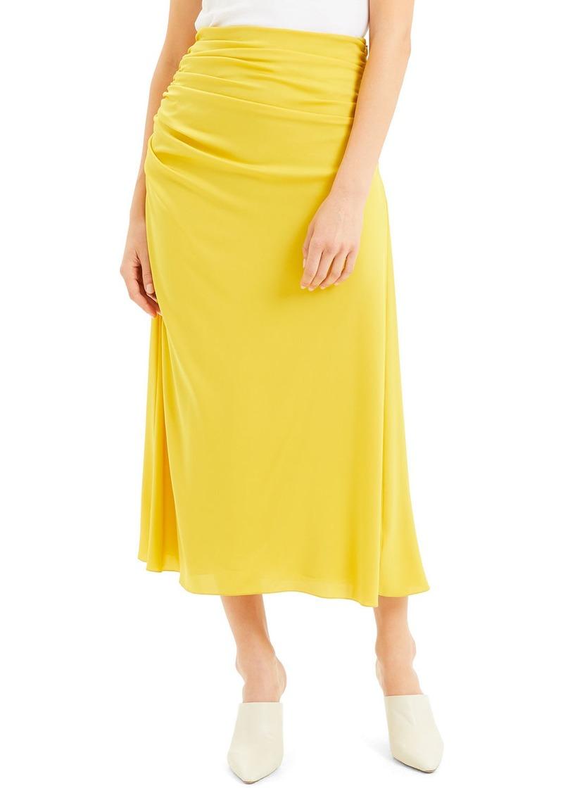 Theory Twisted Silk Midi Skirt