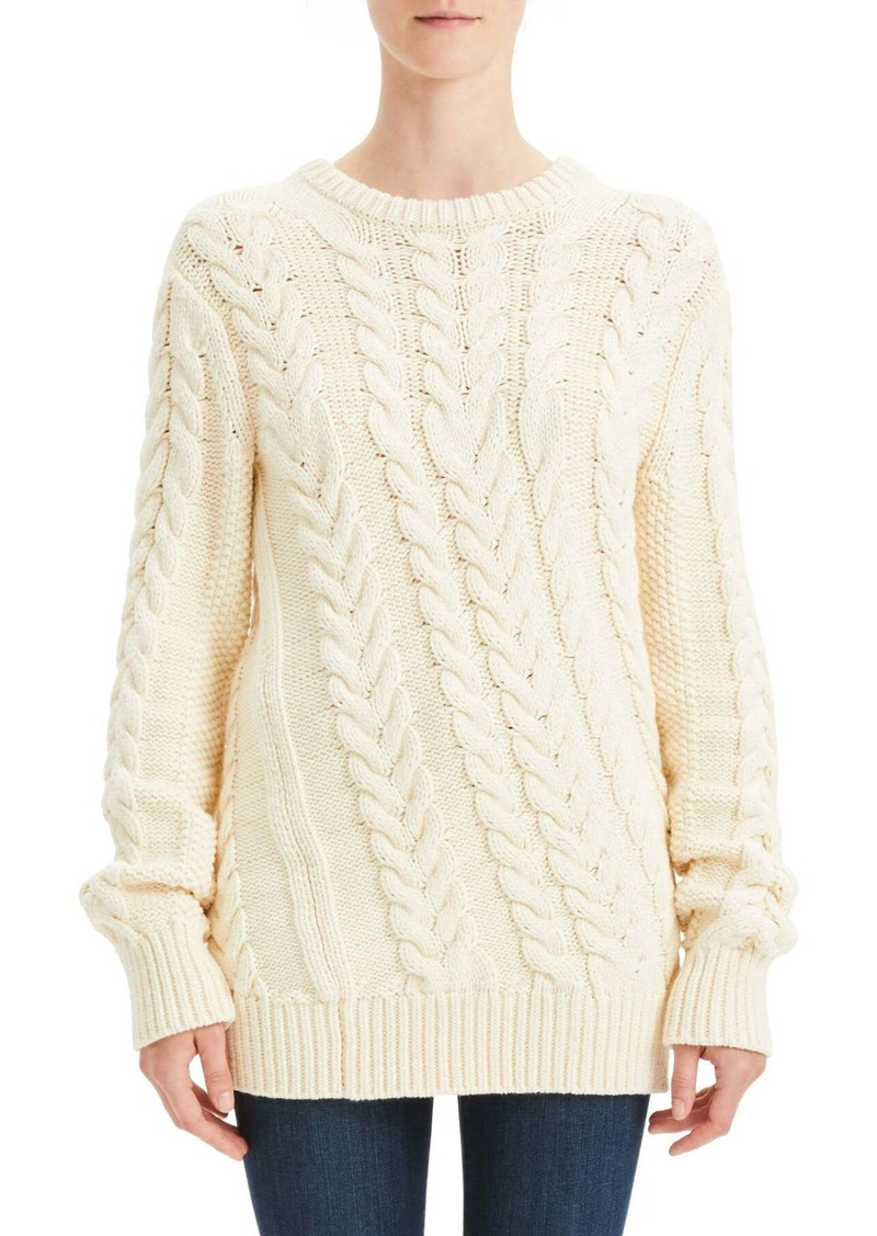 Twisting Cable Crew Neck Sweater