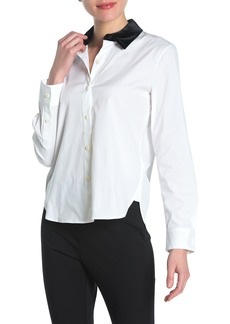 Theory Velvet Collar Stretch Shirt (Regular & Petite)