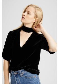 Velvet Slit Collar V-Neck