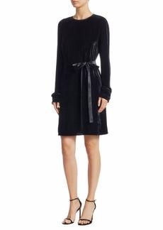 Theory Velvet Tie-Waist Shift Dress