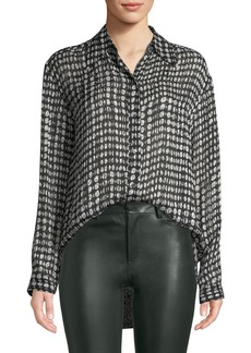 Theory Weekender Printed Button-Front Shirt