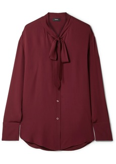 Theory Weekender Pussy-bow Silk-georgette Blouse