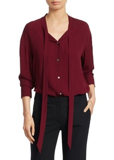 Theory Weekender Silk Tie Neck Blouse