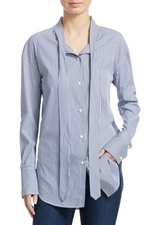 Theory Weekender Stripe Tie Neck Blouse