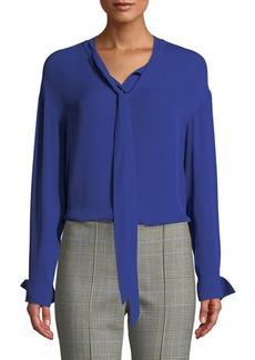 Theory Weekender Tie-Neck Long-Sleeve Classic Georgette Silk Top