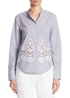 Theory Weylend Cotton Long-Sleeve Blouse