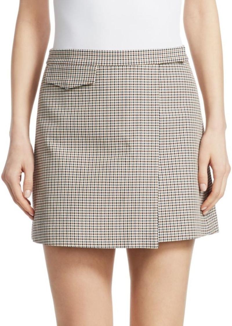 Theory Wool-Blend Plaid Mini Wrap Skirt