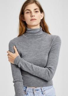 Theory Wool Long-Sleeve Crop Turtleneck