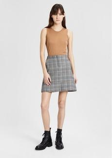 Theory Wool Plaid Seamed Mini Skirt