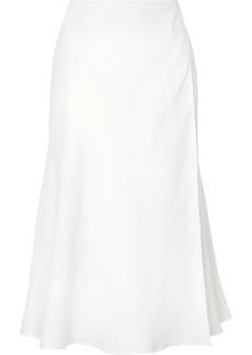 Theory Wrap-effect Herringbone Linen-blend Midi Skirt