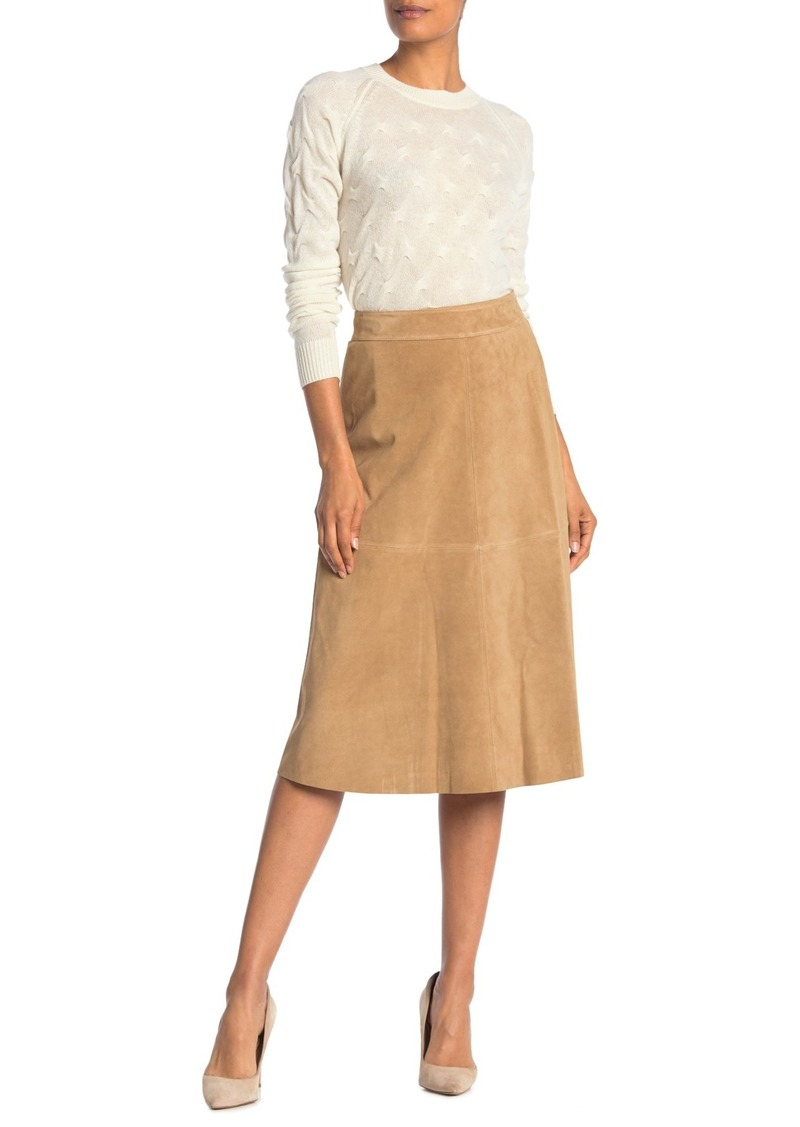 Theory Wrap Suede Leather Midi Skirt