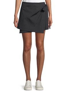 Theory Wrap-Tie Mini Skirt in Stretch Cotton