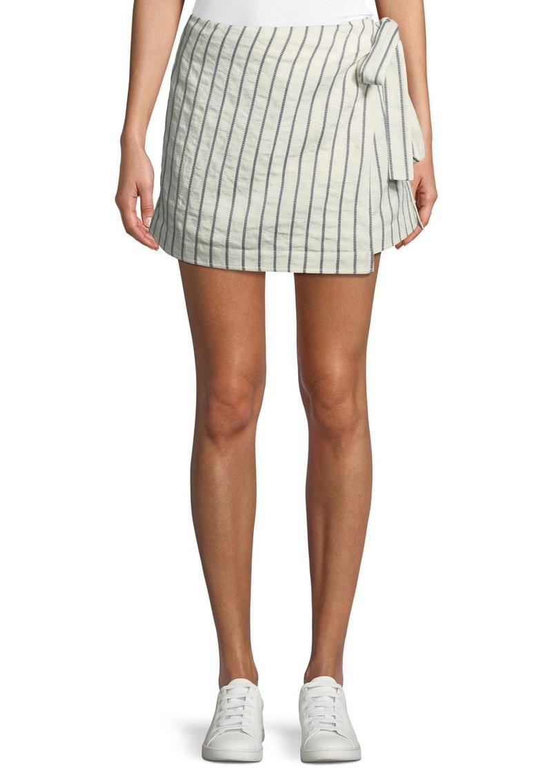 Theory Wrap-Tie Skirt in Split Stripes
