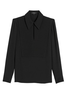 Theory Yoke Classic Silk Popover Blouse