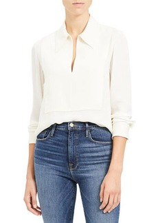 Theory Yoked Popover Silk Blouse