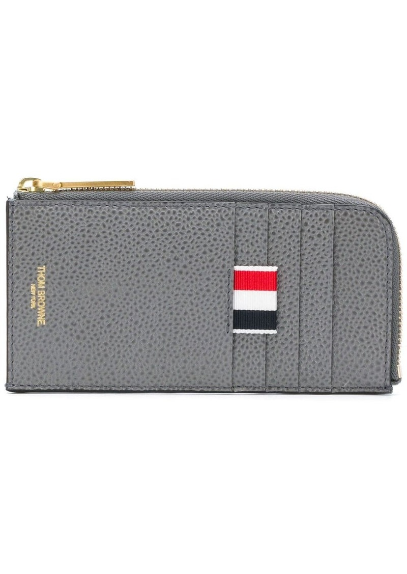 Thom Browne 4-Bar Emboss Half Zip-Around Wallet