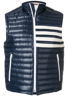 Thom Browne 4-Bar Stripe Quilted Down Fill Satin-finished Tech Vest