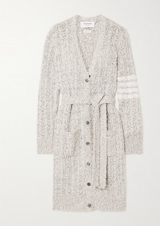 Thom Browne Belted Cotton-blend Boucle Cardigan