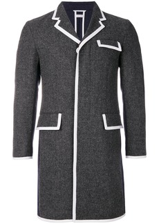 Thom Browne Bicolor Wool High-Armhole Chesterfield Overcoat