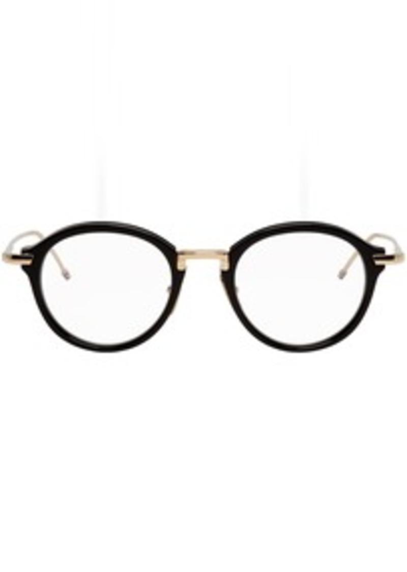 Thom Browne Black & Gold Round Glasses
