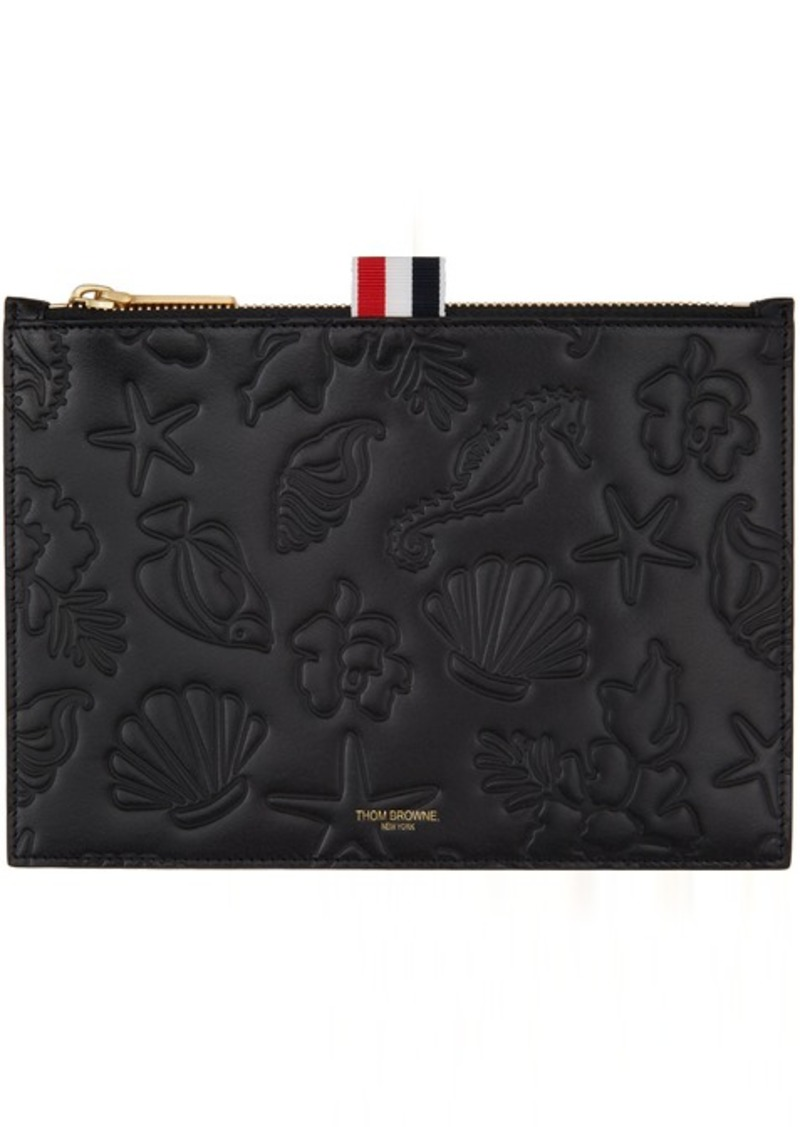 Thom Browne Black Embossed Sea Icon Pouch