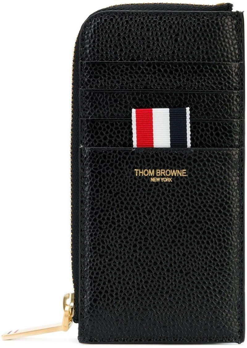 Thom Browne black Half Zip Around Wallet In Pebble Grain