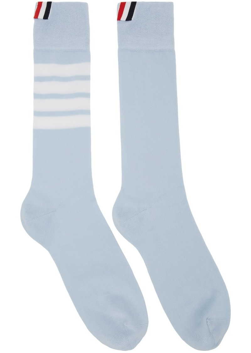 Thom Browne Blue 4-Bar Mid-Calf Socks