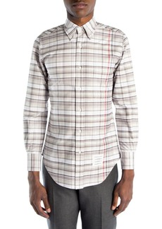 Thom Browne Classic Fit Plaid Shirt