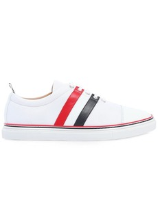 Thom Browne Cotton Blend & Leather Sneakers