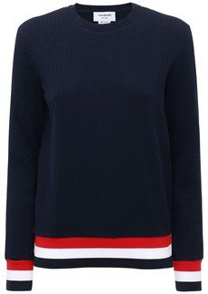 Thom Browne Cotton Knit Sweater W/stripe Detail