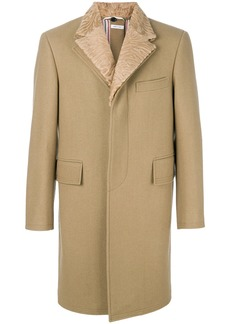 Thom Browne Detachable Fur Collar And Lapel Pilot Cloth Button-Back Chesterfield
