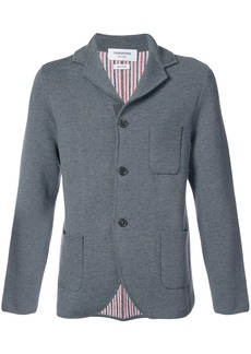 Thom Browne Double Knit Sport Coat With Red, White And Blue Stripe In Grey Fine Merino Wool
