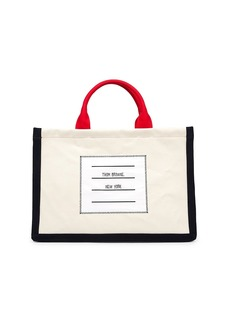 Thom Browne Four Bar Square Leather-Trim Tote Bag