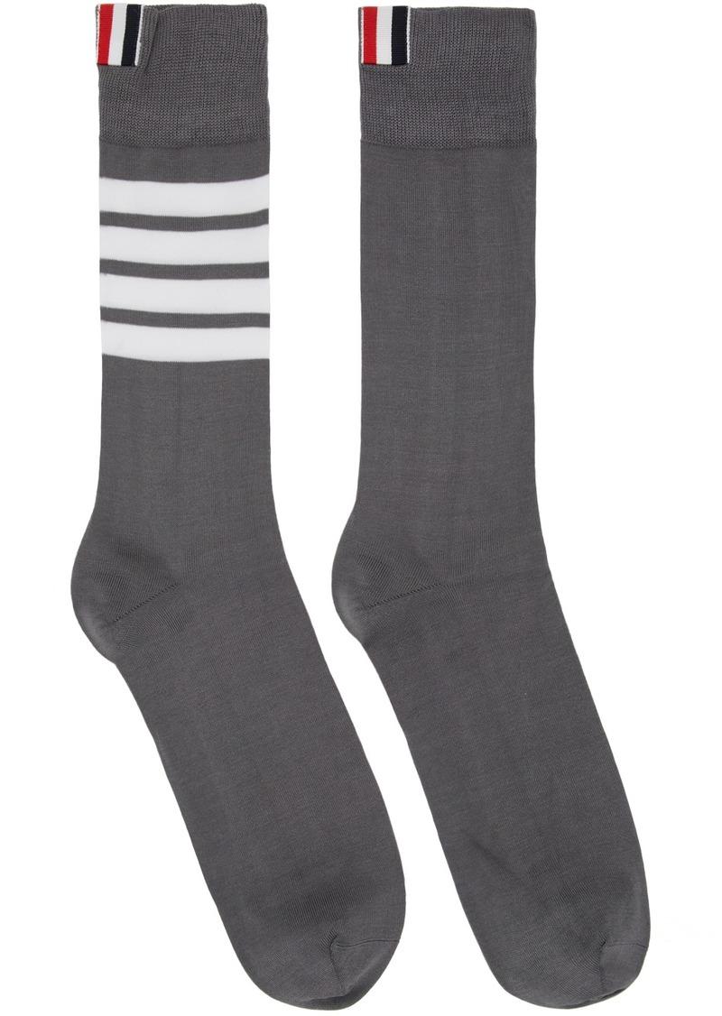 Thom Browne Grey 4-Bar Mid-Calf Socks