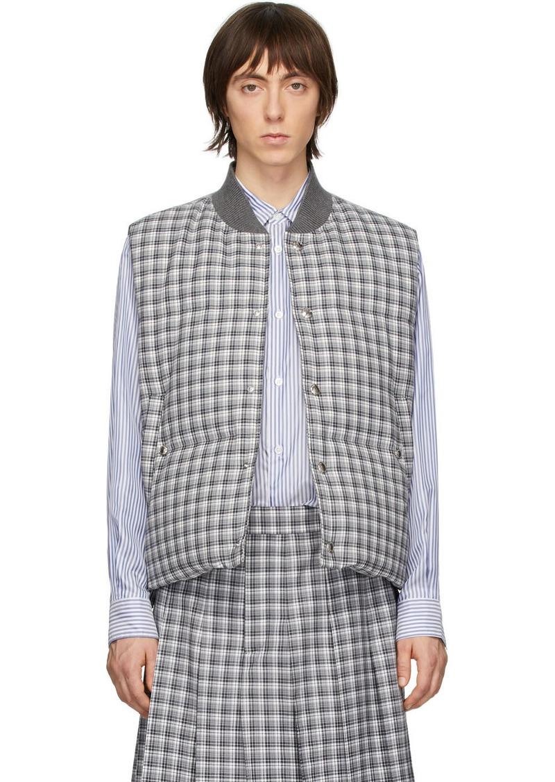 Thom Browne Grey Down Buffalo Check Vest