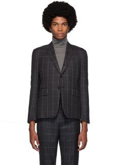 Thom Browne Grey Twill Classic Check Blazer