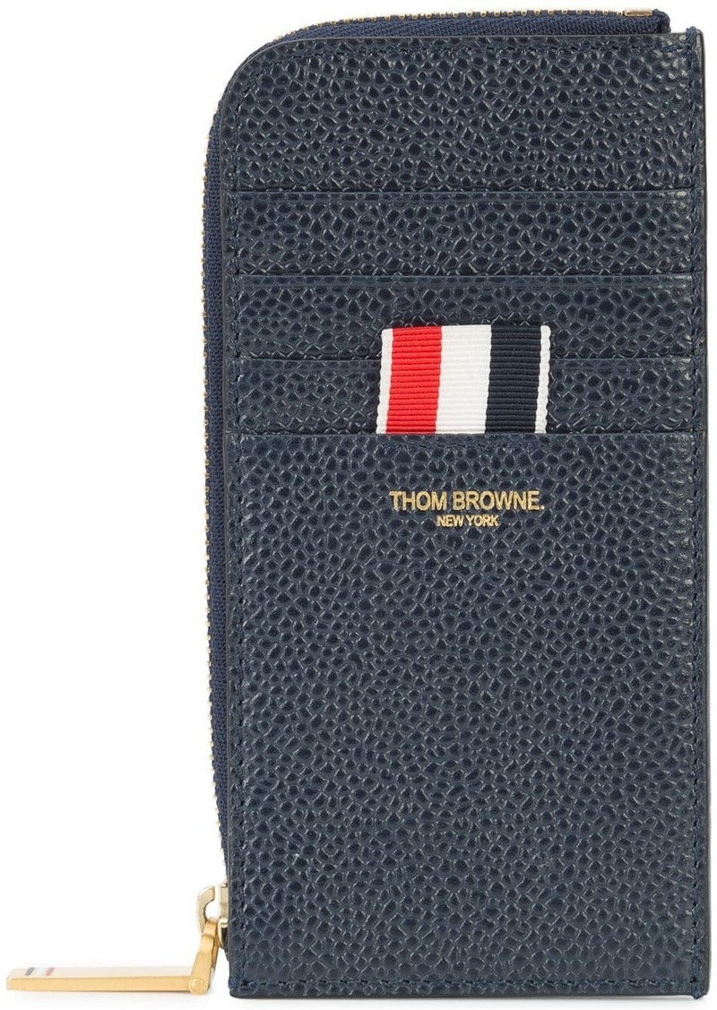 Thom Browne Half Zip Around Wallet With Contrast 4-bar Stripe In Pebble Grain & Calf Leather