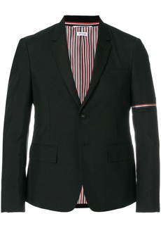 Thom Browne High Armhole Single Breasted Sport Coat With Red, White And Blue Selvedge Arm Placement & Silk Failly Lapel In School Uniform Plain Weave