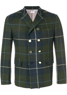Thom Browne Large Buffalo Tartan Pintuck Wool Sport Coat