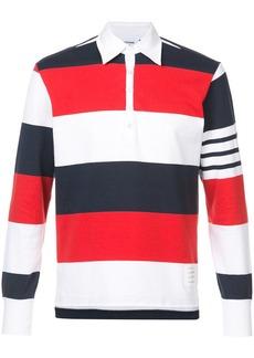 Thom Browne LS Polo In Rugby Stripe W/ Engineered 4-Bar
