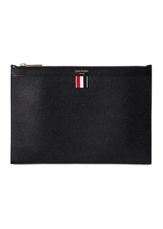 Thom Browne Medium Pebbled Leather Zip Pouch