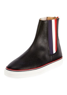 Thom Browne Men's Chelsea Leather High-Top Sneakers with Stripes